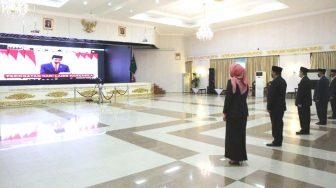 Upacara Hari Lahir Pancasila Melalui Vicon Dipimpin Presiden Jokowi dan Diikuti Gubernur Riau