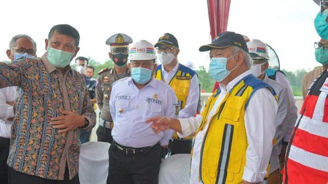 Menteri PUPR Tinjau Pembangunan Tol Pekanbaru-Bangkinang di Kampar Riau